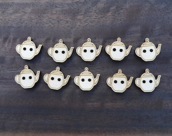 Wooden Teapot Buttons (pack of 5 or 10)