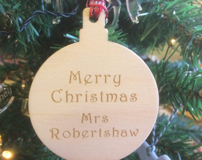 Personalised Wood Christmas Baubles Decoration.