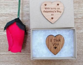 I Pick You or I Love You, Oak Wood, Heart Shaped Guitar Pick, Engraved Guitar Pick, Plectrum.