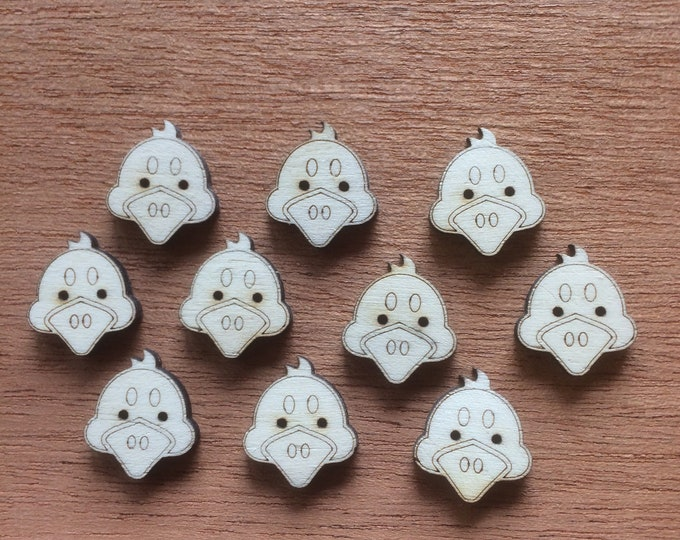 Wooden Duck Buttons, Pack of 5 or 10, Decorative Fun Buttons, Ideal for Sewing, Crafting, Scrap Booking, Embellishments.