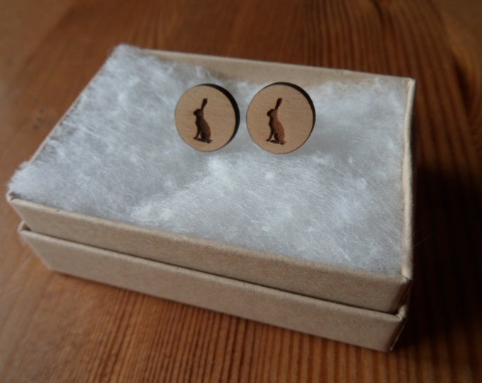 Sitting Hare, Cherry Wood, Engraved Earrings with Sterling Silver Studs