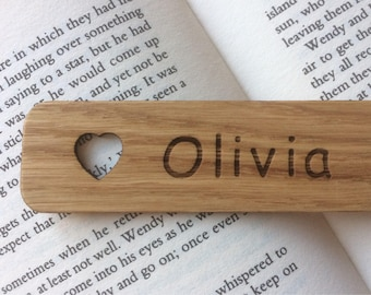 Personalised  Oak Wood Bookmark, With Either A Star or Heart.
