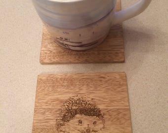Hedgehog Wood Coasters, Wildlife Coasters, Wood Coaster, Decorative Wood Coasters