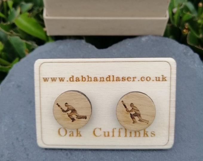 Cricketer Oak Cufflinks.