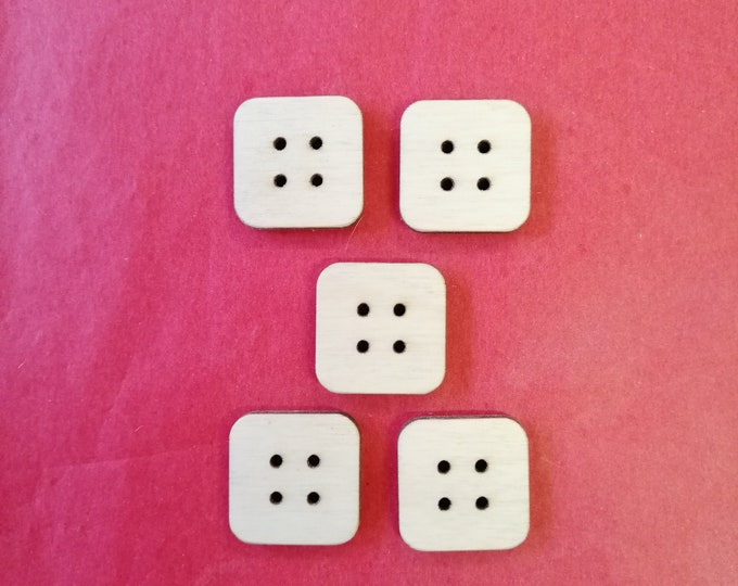 Birch Wood Square Buttons, 20 mm x 20 mm x 3mm, Packs of 5 or 10. Sewing, Scrapbooking, Needlecraft, Knitting, Crochet, Wood Buttons.