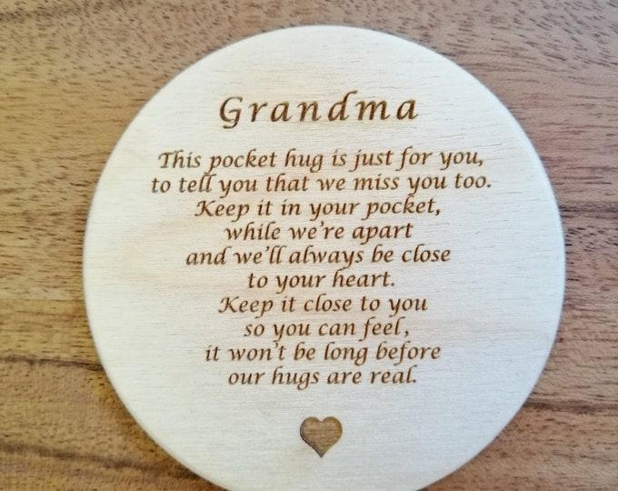 Pocket Hugs, Engraved with either  Mum, Grandma, Nana, Nanna, Grandad, Grandpa. Hand Finished, Handmade.