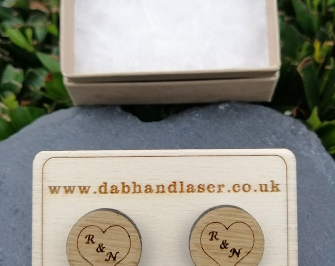Personalised Initials with Heart Oak Cufflinks.