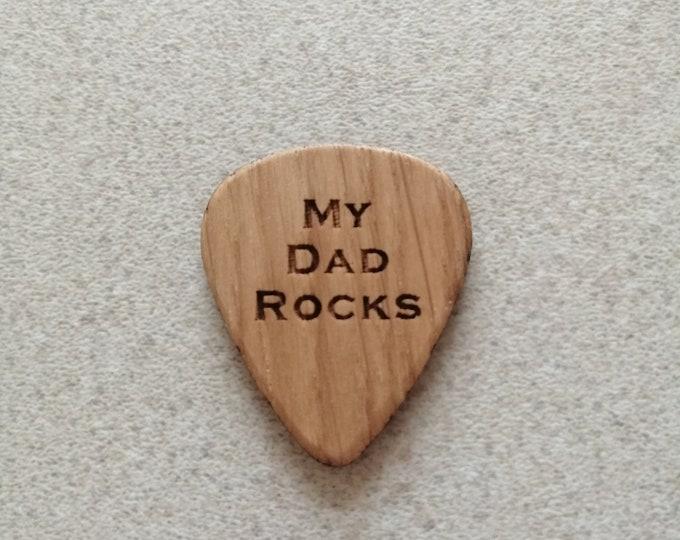 My Dad Rocksl, Oak Engraved Guitar Pick.