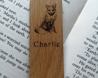 Fox Laser Engraved Oak Bookmark. Wildlife Bookmark. Personalised bookmark, Gifts for Her, Gifts for Him. Personalised gifts.