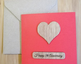 Happy 5th Anniversary Card, Engraved Wood Anniversary Card, Cards for Him, Cards for Her, Husband, Wife, Partner Card, Love Cards