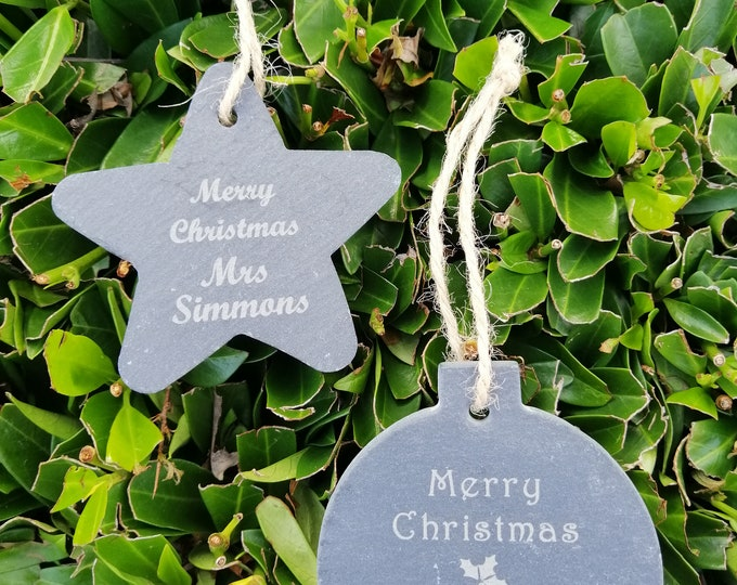 Personalised Slate Christmas Decoration Teacher Gift, Bauble Or Star