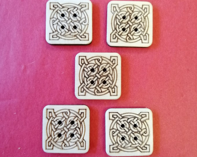 Celtic Knot Square Buttons, Packs of 5 or 10, Wood Buttons. Ideal For Sewing, Knitting, Crochet, Crafting, Scrap Booking & Embellishments.