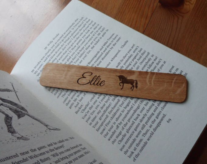 Personalised Unicorn, Oak Hand Finished Bookmark.