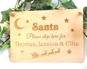 Personalised Stop here for Santa Wood sign