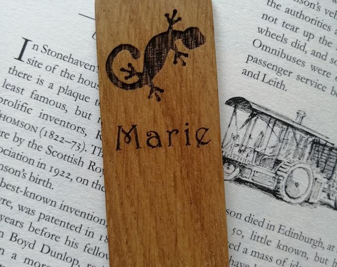 Gecko Oak Bookmark. Personalised Bookmarks