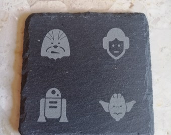 Star Wars Character Engraved Slate Coasters