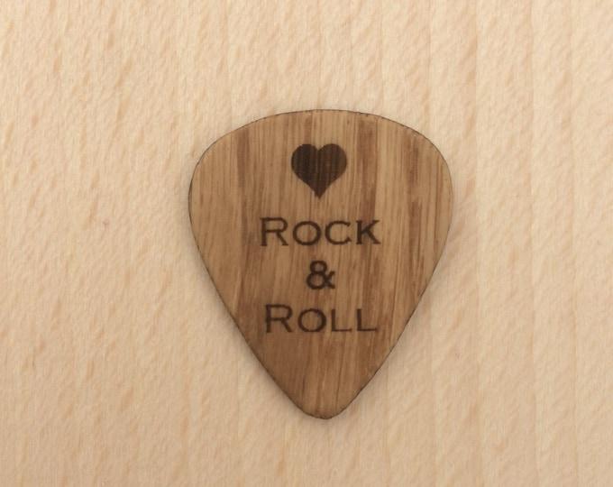 Love Rock And Roll, Oak Guitar Pick, Engraved Guitar Pick, Plectrums, Custom Made Guitar Picks, Hand Made Guitar Picks.