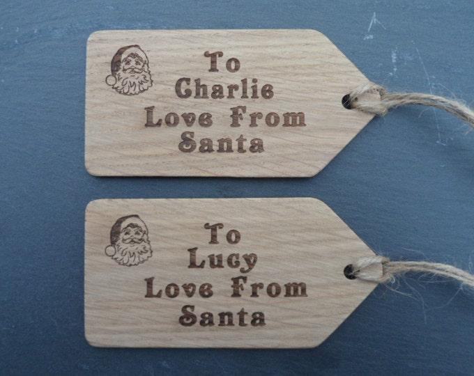 Santa Sack Oak Effect Tags, Christmas Tags, Personalised Tags, Santa Tags, Father Christmas tags, Christmas Decoration Tags.