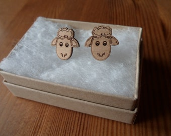 Sheep, Cherry Wood, Engraved Earrings with Sterling Silver Studs