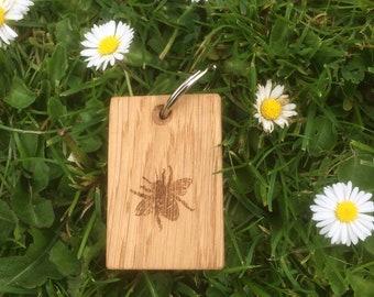Bee Oak Keyring, Bumble Bee Key ring, Handmade, Wood Engraved Bee Keyring, Custom, Personalised key Chains.