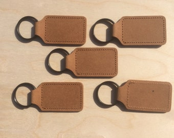 Recycled Leather Key Fobs With Black Steel Ring, Key Ring Leather Blanks