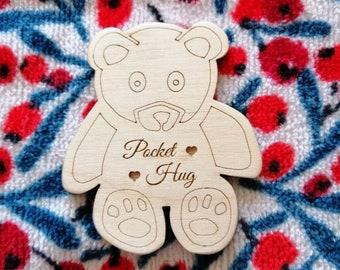 Pocket Hug Bears, Personalised, Hand Finished Engraved Birch Wood Pocket Hug Bears, Buy 2 or More & Save.