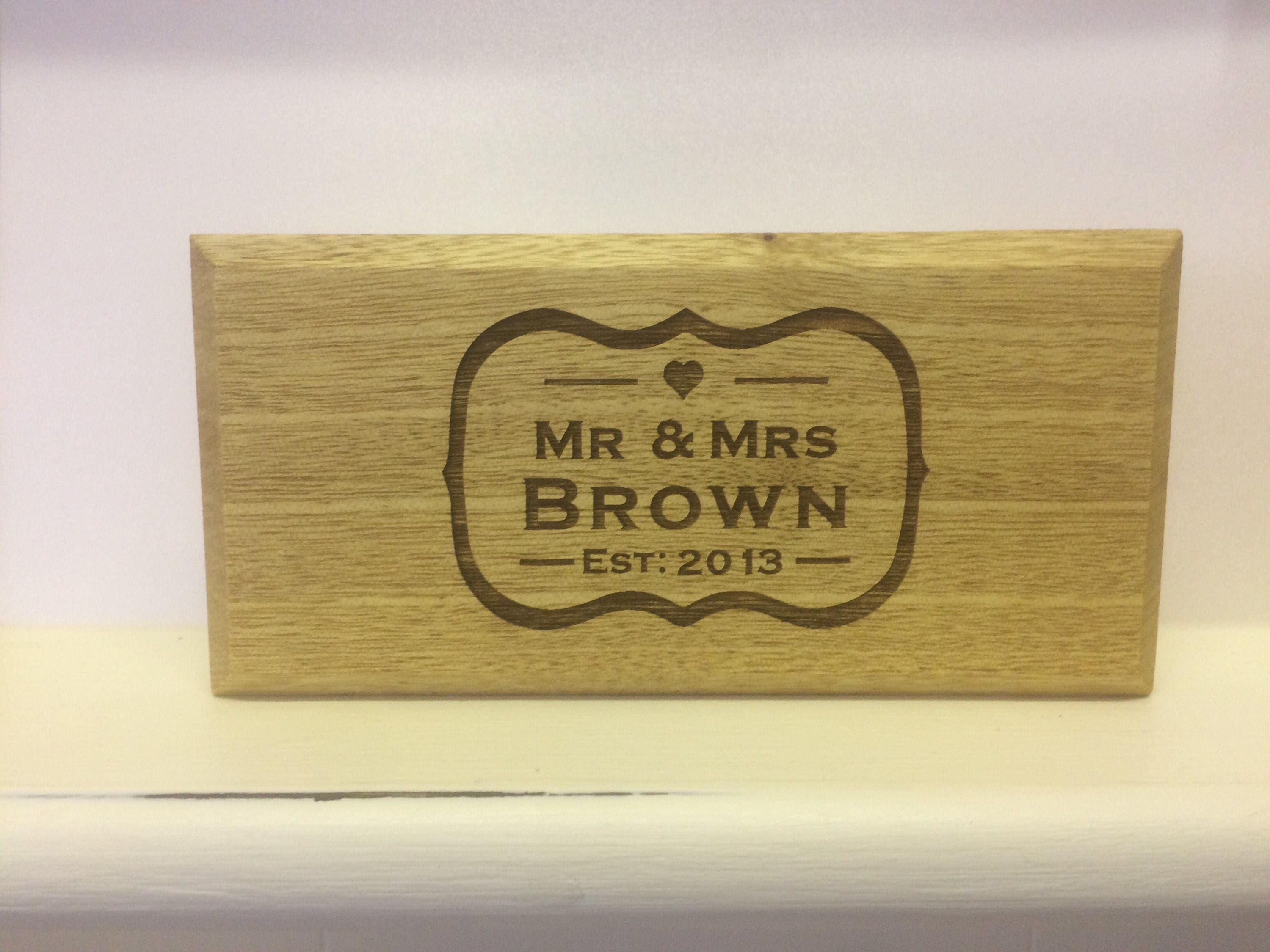 Engraved Weddinganniversary Wood Stand Alone Plaque Wood Signs