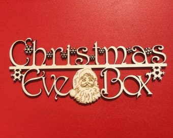Christmas Eve Box Sign With Santa/Father Christmas And Snowflakes.