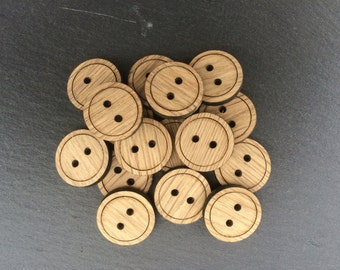 Oak Round Buttons 2 cm, Pack of 5, Laser Cut Buttons, Wood Buttons, Oak Buttons, Decorative Buttons, Buttons for Crafting, Buttons For Bags.