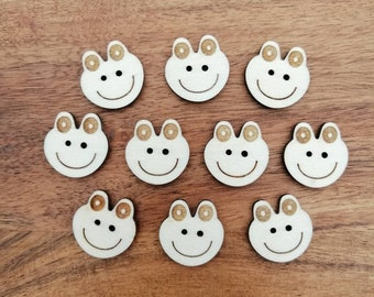 Frog Face Wood Buttons, Packs of 5 or 10, Ideal for Sewing, Knitting, Crochet, Crafting, Scrap Booking, Embellishments.