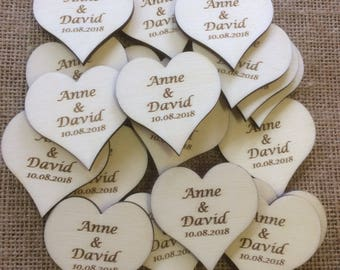 Personalised Wood Engraved Love Hearts 4.5 cm x 4.5 cm x 3 mm for Weddings, Invites, Decorations etc