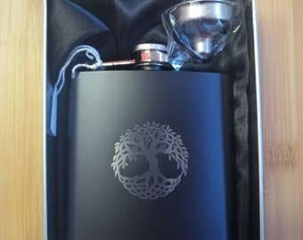 Celtic Tree of Life Engraved on a Matt Black 6oz, Hip Flask with Funnel & Gift Tin.