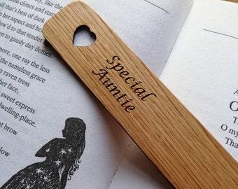 Special Auntie Engraved Oak Bookmark.