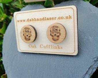 Sugar Skull  Engraved Wood Cufflinks, Custom Handmade Cufflinks, Christmas Gifts for Him. Birthday Gifts For Him, Wedding Cuff Links.