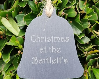 Personalised Family Slate Christmas Bell Decoration.