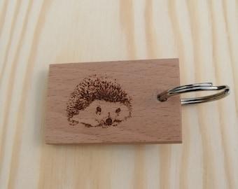 Hedgehog Handmade and Hand Finished Beech Wood Keyring.
