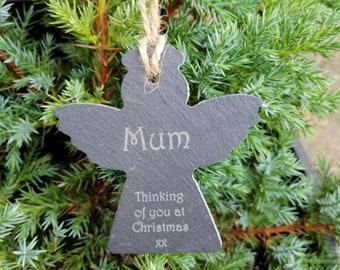 Slate Christmas Angel, Mum, Dad, Grandad or Grandma 'Thinking of you at Christmas' Tree Decoration.