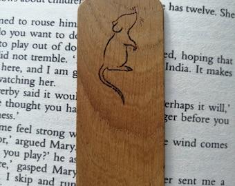 Cute Mouse Engraved Oak Bookmark.