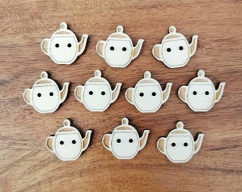 Teapot Wood Buttons, Packs of 5 or 10, Ideal For Sewing, Knitting, Crochet,  Crafting, Scrap Booking & Embellishments. Fun Buttons.
