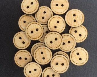 Bamboo Buttons, Pack of 5, Wood Buttons, Decorative Buttons.