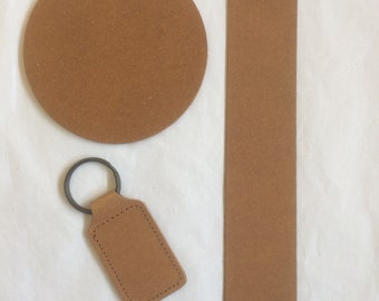 Recycled Leather Sample Pack, 1 x Coaster, 1 x Bookmark, 1 x Key Ring