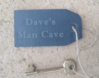 Personalised Man Cave, Fun Slate Key Fob