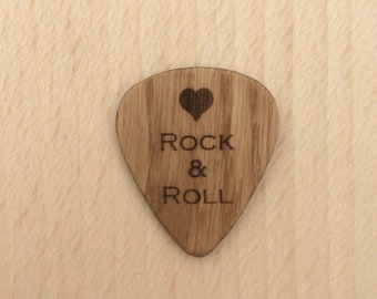 Love Rock And Roll, Oak Engraved Guitar Pick