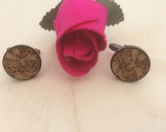 Watch Cogs  Engraved Wood Cuff Links, Custom Made Cuff links, Handmade Cuff links.