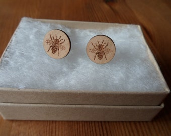 Bee Cherry Wood Engraved Earrings with Sterling Silver Studs