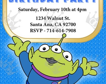Toy Story Alien Birthday Party Invite Template