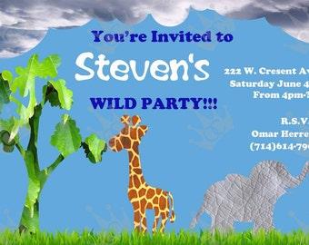 Wild Animal Birthday Party Invitations, Kids Birthday Party Invites, DIY