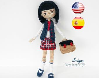 "Pattern ""Doll Schoolgirl"", amigurumi crochet doll, crochet doll pattern, amugurumi pattern"