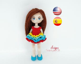 """Pattern """"Doll Kate + clothes (dress and shoes)"""", amigurumi crochet doll, crochet doll pattern, amugurumi pattern, pdf pattern"""