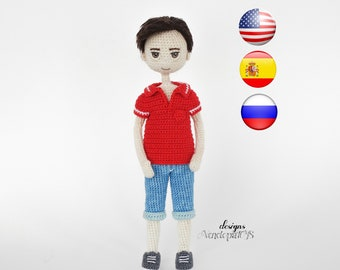 Pattern Doll Boy Steve + Clothes, amigurumi crochet doll boy, crochet doll boy pattern, amugurumi pattern, pdf pattern